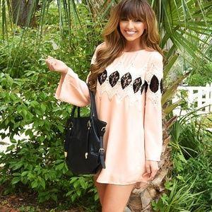 Women's Hot & Delicious Pale Peach Dress - L NWT